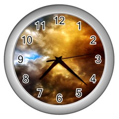 Cloudscape Silver Wall Clock by artposters