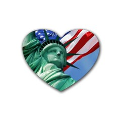 Statue Of Liberty, New York Rubber Drinks Coaster (heart) by artposters