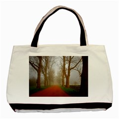 Foggy Morning, Oxford Black Tote Bag by artposters