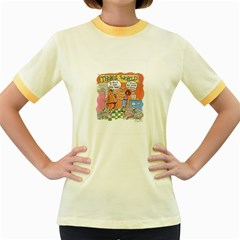 Thong World Colored Ringer Womens  T Shirt by mikestoons