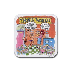 Thong World 4 Pack Rubber Drinks Coaster (square) by mikestoons