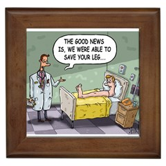 The Good News Is     Framed Ceramic Tile by mikestoons