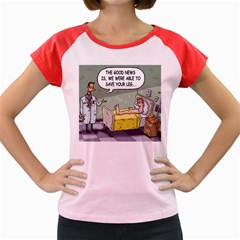 The Good News Is     Colored Cap Sleeve Raglan Womens  T Shirt by mikestoons