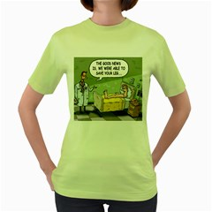 The Good News Is     Green Womens  T Shirt by mikestoons