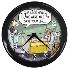 The Good News Is     Black Wall Clock by mikestoons