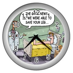 The Good News Is     Silver Wall Clock by mikestoons