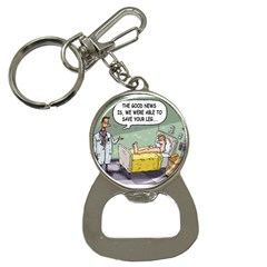 The Good News Is     Key Chain With Bottle Opener by mikestoons