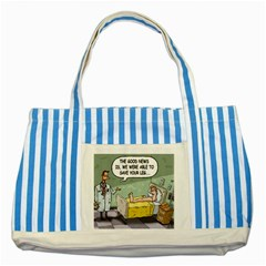 The Good News Is     Blue Striped Tote Bag by mikestoons