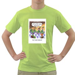 Elf Help Group Green Mens  T Shirt by mikestoons