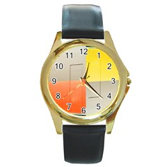 Geometry Black Leather Gold Rim Watch (round) by artposters