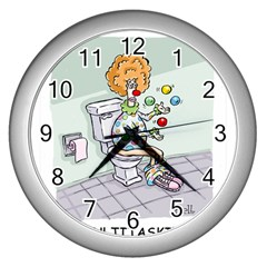 Multitasking Clown Silver Wall Clock by mikestoons