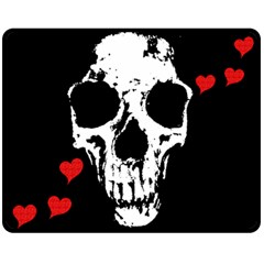 Fragmented Skull & Hearts Large Fleece Blanket by DarkImage