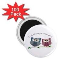 Owl Always Love You, Cute Owls 100 Pack Small Magnet (round) by DigitalArtDesgins
