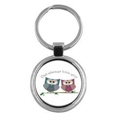 Owl Always Love You, Cute Owls Key Chain (round) by DigitalArtDesgins