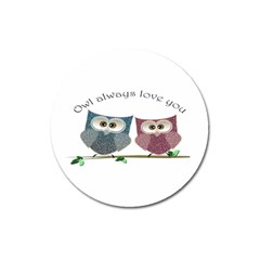 Owl Always Love You, Cute Owls Large Sticker Magnet (round) by DigitalArtDesgins