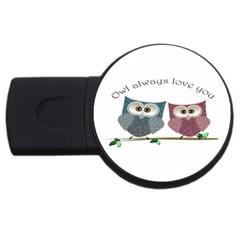 Owl Always Love You, Cute Owls 2gb Usb Flash Drive (round) by DigitalArtDesgins