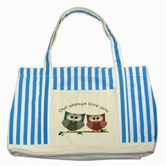 Owl Always Love You, Cute Owls Blue Striped Tote Bag by DigitalArtDesgins