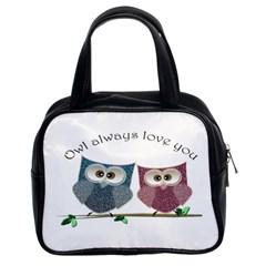 Owl Always Love You, Cute Owls Twin Sided Satchel Handbag by DigitalArtDesgins