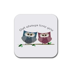 Owl Always Love You, Cute Owls 4 Pack Rubber Drinks Coaster (square) by DigitalArtDesgins