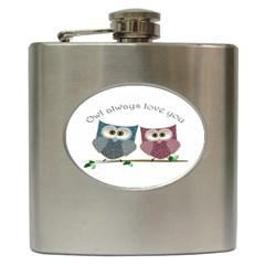 Owl Always Love You, Cute Owls Hip Flask by DigitalArtDesgins
