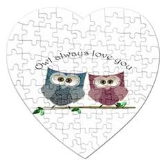 Owl Always Love You, Cute Owls Jigsaw Puzzle (heart) by DigitalArtDesgins