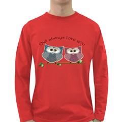Owl Always Love You, Cute Owls Dark Colored Long Sleeve Mens'' T Shirt by DigitalArtDesgins