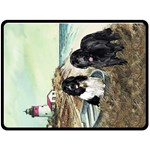 TWO NEWFS AND BOAT - Fleece Blanket (Large)