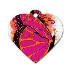 Pink Butter T Copy Single Sided Dog Tag (heart) by colormebrightly