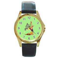 Pin Up Girl 4 Black Leather Gold Rim Watch (round) by UberSurgePinUps