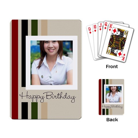 Happy Birthday By Jo Jo   Playing Cards Single Design   Xh8w54o5lw9e   Www Artscow Com Back