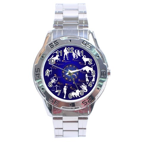 Horoscope By Divad Brown   Stainless Steel Analogue Watch   7grucua411ri   Www Artscow Com Front