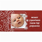 Red Swirl Photo Christmas Card - 4  x 8  Photo Cards