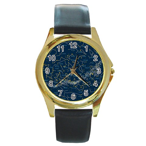 Horoscope, Star By Divad Brown   Round Gold Metal Watch   F6gyff882t02   Www Artscow Com Front