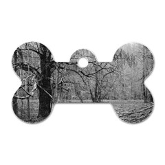 Black And White Forest Single Sided Dog Tag (bone) by Elanga