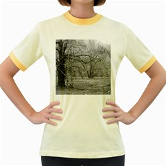 Black and White Forest Colored Ringer Womens  T-shirt by Elanga