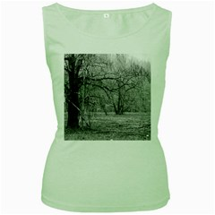 Black And White Forest Green Womens  T Shirt by Elanga