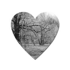 Black And White Forest Large Sticker Magnet (heart) by Elanga