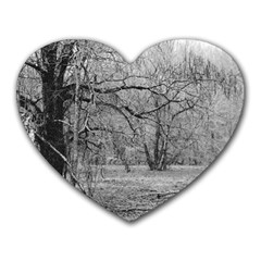 Black And White Forest Mouse Pad (heart) by Elanga