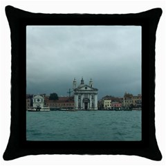 Venice Black Throw Pillow Case