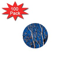 Trees On Blue Sky 100 Pack Mini Button (round) by Elanga