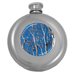 Trees On Blue Sky Hip Flask (round) by Elanga