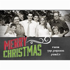 Chalkboard Merry Christmas Family By Marcee Duggar   5  X 7  Photo Cards   W4f0awpxy3n8   Www Artscow Com 7 x5 Photo Card - 5