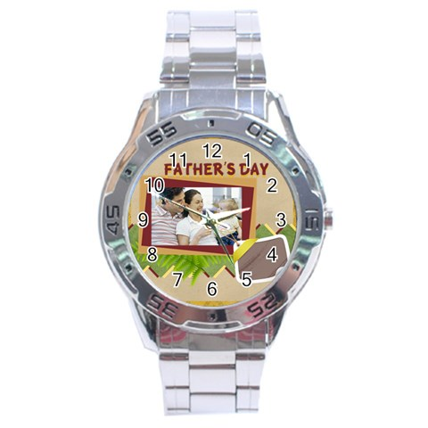 Fathers Day By Dad   Stainless Steel Analogue Watch   44nczzzztr9g   Www Artscow Com Front