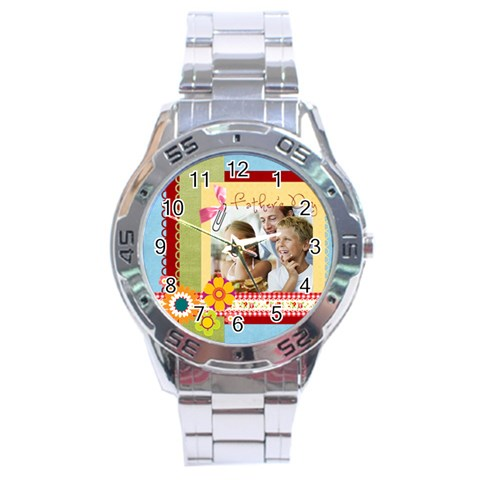 Fathers Day By Dad   Stainless Steel Analogue Watch   Okber9rwowcc   Www Artscow Com Front