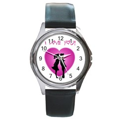 I Love You Kiss Black Leather Watch (Round)