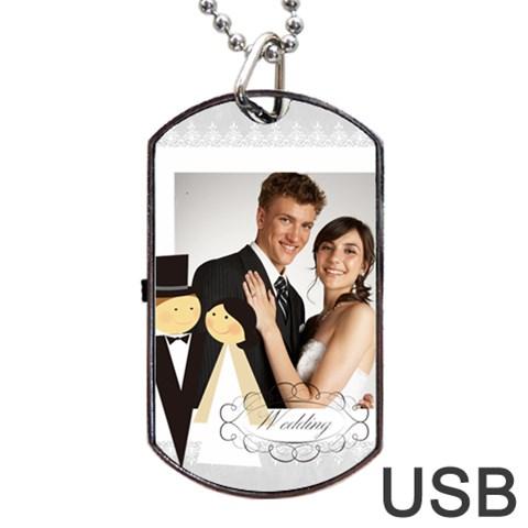 Wedding By Paula Green   Dog Tag Usb Flash (one Side)   V2n75783qgyu   Www Artscow Com Front