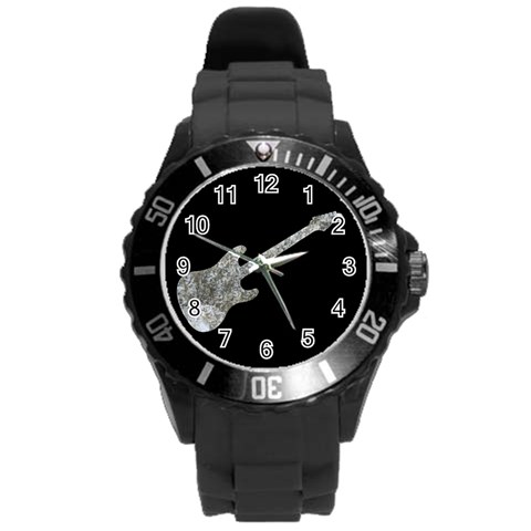 Rock   Guitar   Watch By Riksu   Round Plastic Sport Watch (l)   Ax9jtwhdmxse   Www Artscow Com Front