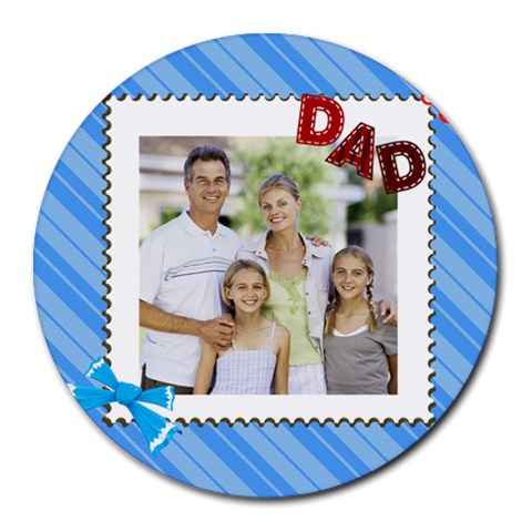 Fathers Day By Dad   Collage Round Mousepad   0n0u7ntuz8fg   Www Artscow Com 8 x8 Round Mousepad - 1