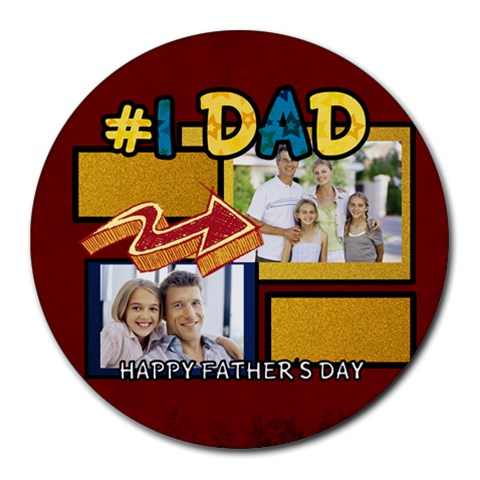 Fathers Day By Dad   Collage Round Mousepad   Ign6ujcinatc   Www Artscow Com 8 x8 Round Mousepad - 1