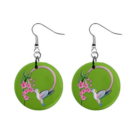 Humming Bird Earrings By Zornitza   1  Button Earrings   Owxdar01of2f   Www Artscow Com Front